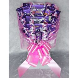 Cadbury Dairy Milk Chocolate Bouquet finished in Silver & Pink