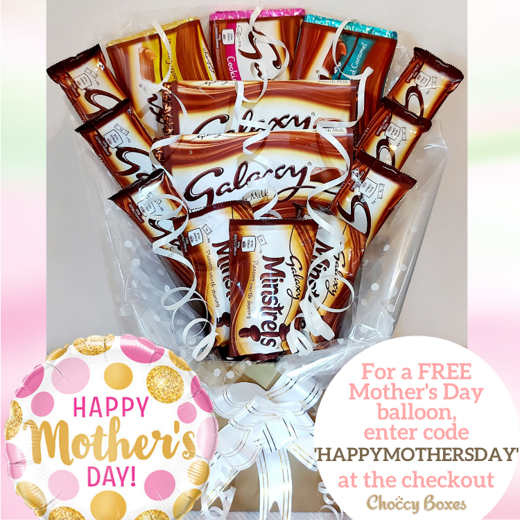 Enter code 'HAPPYMOTHERSDAY' for a free balloon with your Galaxy Chocolate Bouquet