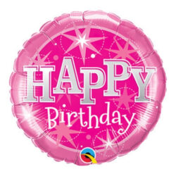 "Pink Happy Birthday 9"" Foil Balloon"