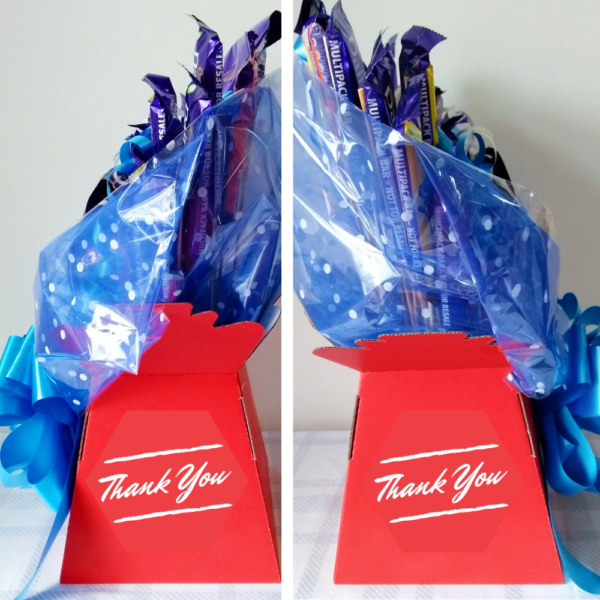 Custom Thank You Chocolate Bouquet - Red & Blue