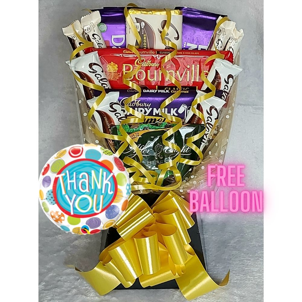 Thank You Chocolate Bouquet finished in Black & Gold
