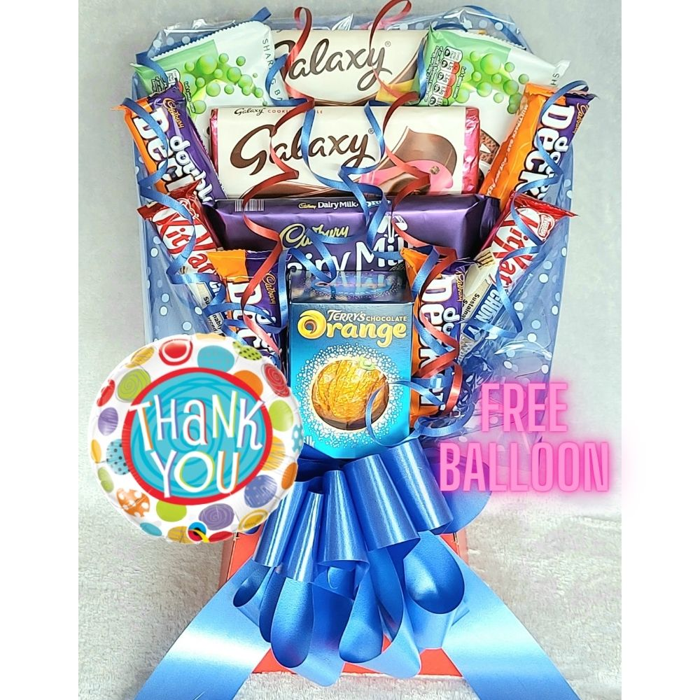 Thank You Chocolate Bouquet finished in Red & Blue