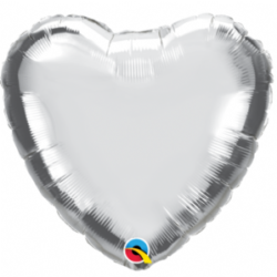 "Silver Heart 9"" Foil Balloon"