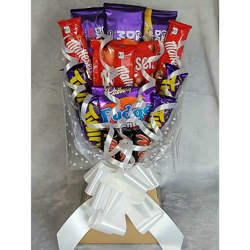 Custom Chocolate Bouquet finished in Gold & White