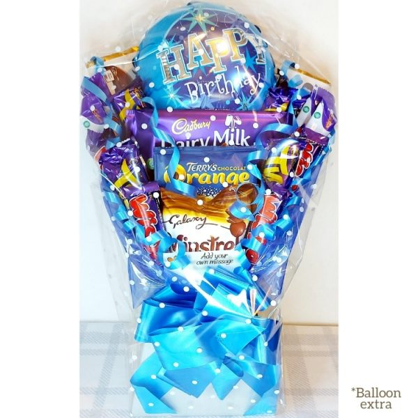 Custom Chocolate Bouquet with happy birthday balloon finished in silver and blue - wrapped