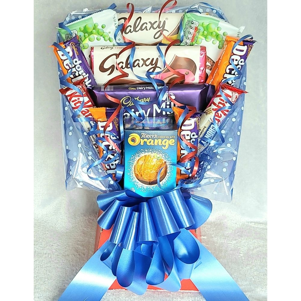 Custom Chocolate Bouquet finished in Red & Blue