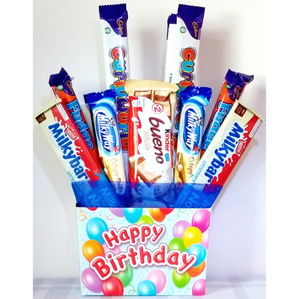 Happy Birthday Chocolate Bouquet for Kids - Blue
