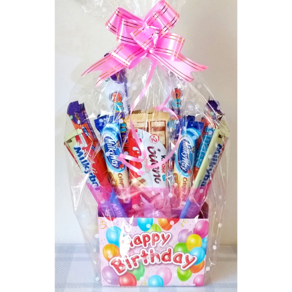 Happy Birthday Chocolate Bouquet for Kids - Pink Wrapped