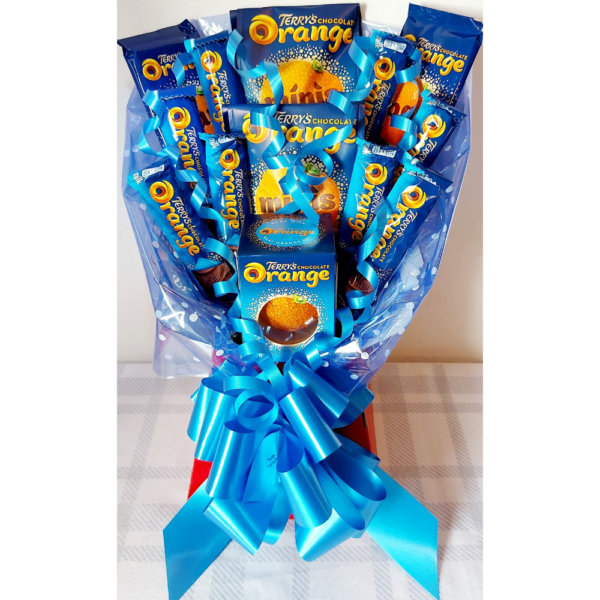 Terrys Chocolate Orange Bouquet finished in Red & Blue