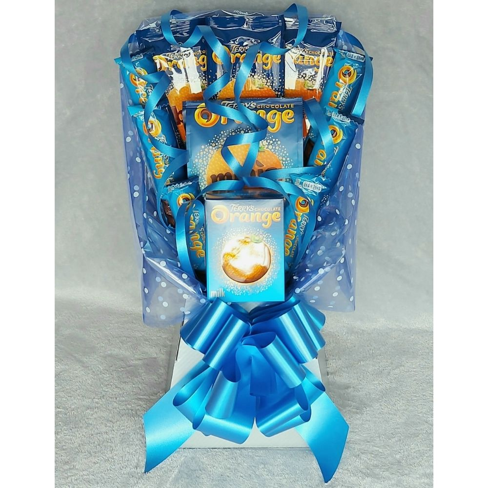Terry's Chocolate Orange Bouquet finished in Silver & Blue