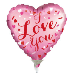 "Pink 'I Love You' 9"" Foil Balloon"