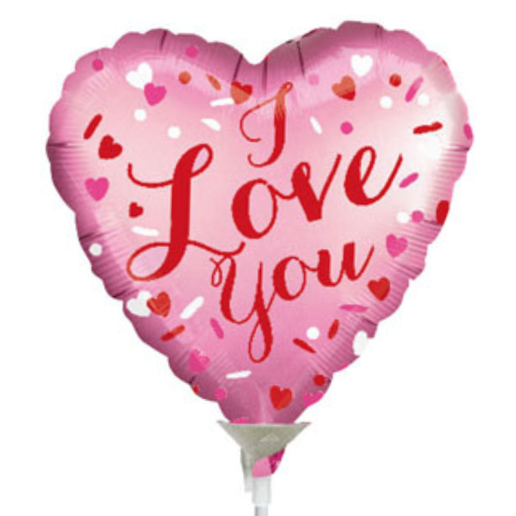 """Pink 'I Love You' 9"""" Foil Balloon"""