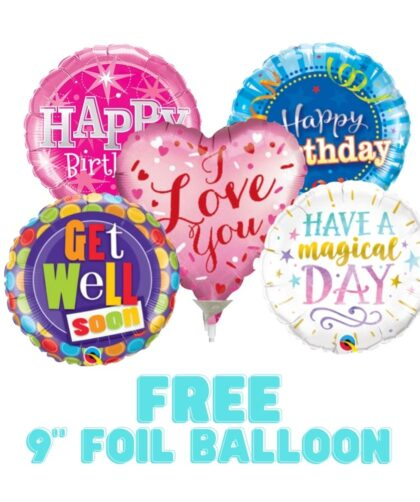 """Free 9"""" Foil Balloon with any Chocolate Bouquet or Sweet Bouquet"""